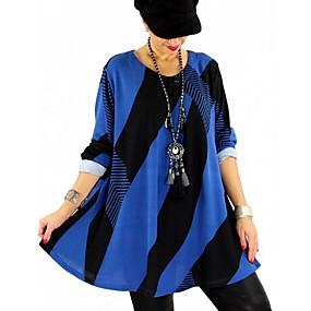preiswerte Damenbekleidung-Damen Gestreift Bluse Leicht Blau