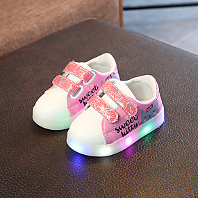 preiswerte Schuhe für Kinder-Mädchen Leuchtende LED-Schuhe PU Sneakers Kleine Kinder (4-7 Jahre) / Große Kinder (ab 7 Jahren) Walking LED Weiß / Purpur / Rosa Frühling / Sommer / Gummi