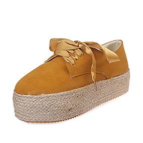 voordelige Damesschoenen met platte hak-Dames Platte schoenen Creepers Ronde Teen PU Lente & Herfst Zwart / Geel / Groen
