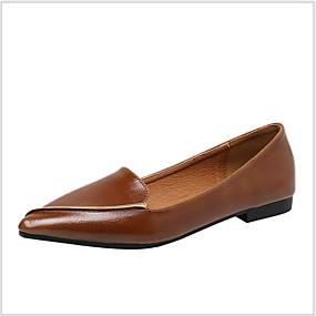 voordelige Damesschoenen met platte hak-Dames Platte schoenen Platte hak Gepuntte Teen PU Zomer Zwart / Bruin / Amandel