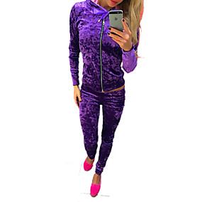 cheap Running & Jogging-Women's Tracksuit Streetwear Casual Winter Long Sleeve Velour Warm Breathable Soft Fitness Running Sportswear Solid Colored Purple Blue Pink Green Activewear Stretchy / Velvet