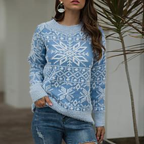 preiswerte Pullover-Damen Weihnachten Geometrisch Langarm Schlank Pullover Pullover Jumper Herbst / Winter Baumwolle Rosa / Blau / Rote S / M / L