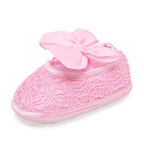 ราคาถูก พรีเซลล์-เด็กผู้หญิง สำหรับการเดินครั้งแรก / รองเท้าสาวดอกไม้ ตารางไขว้ รองเท้าส้นเตี้ยทำมาจากหนังและรองเท้าสวมแบบไม่มีเชือก ทารก (0-9m) / เด็กวัยหัดเดิน (9m-4ys) วสำหรับเดิน ปมผ้า ขาว / แดง / สีชมพู / ยาง
