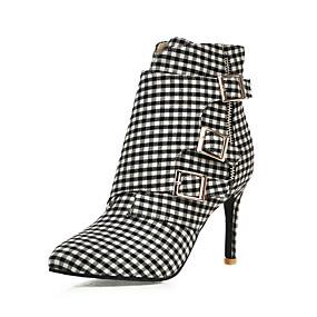 billige Mote Boots-Dame Støvler Stiletthæl Spisstå Spenne Bomull Ankelstøvler Forretning / Chinoiserie Vår sommer / Høst vinter Rosa / Grå