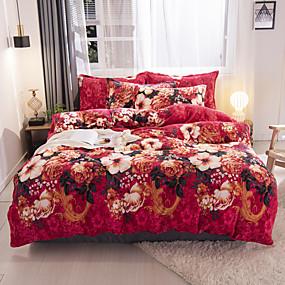 preiswerte Blumen-Duvet-Abdeckungen-Bettbezug-Sets Blumen / Pflanzen Polyester / Polyamid / Flanell Reaktivdruck / Bedruckt / Gesteppt 4 StückBedding Sets