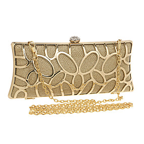 preiswerte Taschen-Damen Blume Polyester / Aleación Abendtasche Geometrische Muster Schwarz / Gold / Silber