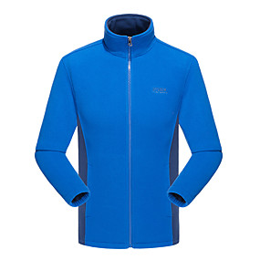 cheap Camping, Hiking & Backpacking-Men's Hiking Fleece Jacket Winter Outdoor Solid Color Windproof Fleece Lining Warm Soft Winter Fleece Jacket Top Camping / Hiking / Caving Traveling Winter Sports Black Red Blue