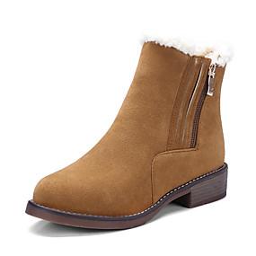 preiswerte Komfort-Schuhe-Damen Stiefel Blockabsatz Runde Zehe PU Booties / Stiefeletten Britisch / Preppy Herbst Winter Schwarz / Braun / Grün