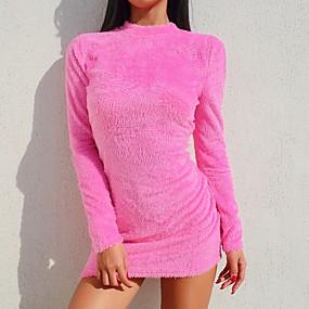 preiswerte Neue im Sortiment-Damen Bodycon Kleid Solide Mini
