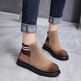 billige Mote Boots-Dame Støvler Lav hæl Rund Tå Semsket lær Ankelstøvler Preppy / minimalisme Vår & Vinter / Høst vinter Svart / Brun