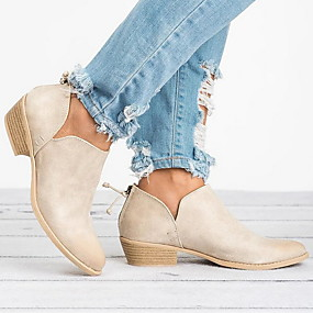 billige Mote Boots-Dame Støvler Lav hæl Rund Tå PU Ankelstøvler Høst vinter Svart / Rosa / Beige