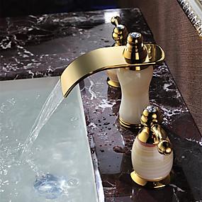 povoljno Slavine za umivaonik-Kupaonica Sudoper pipa - Waterfall Ti-PVD Slavine s tri otvora Dvije ručke tri rupeBath Taps / Brass