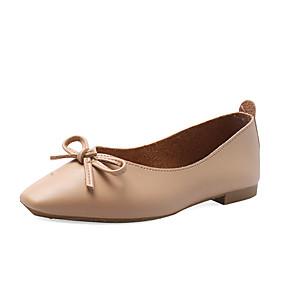 voordelige Damesschoenen met platte hak-Dames Platte schoenen Platte hak Vierkante Teen PU Zoet Herfst Zwart / Amandel / Beige