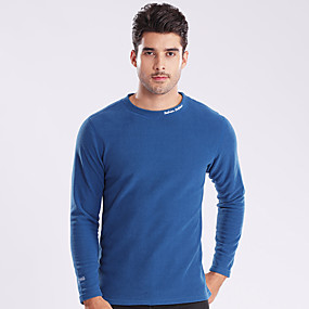 cheap Running & Jogging-Wolfcavalry® Men's Hiking Tee shirt Long Sleeve Tee Tshirt Top Outdoor Windproof Fleece Lining Warm Quick Dry Autumn / Fall Winter Spring POLY Solid Color Black Red Blue Camping / Hiking Hunting