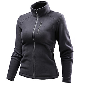 cheap Camping, Hiking & Backpacking-Women's Hiking Jacket Hiking Fleece Jacket Autumn / Fall Spring Outdoor Solid Color Waterproof Windproof Fleece Lining Warm Outerwear Jacket Top Polar Fleece Hunting Fishing Climbing White Red Blue