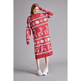 preiswerte Pullover-Damen Weihnachten Einfarbig / Solide Langarm Schlank Pullover Pullover Jumper, Rundhalsausschnitt Herbst / Winter Baumwolle Blau / Rote Einheitsgröße