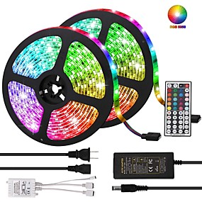 cheap Fill Your Needs-KWB Led Strip Lights Kit Non-waterproof SMD 5050 10mm 32.8 Ft (10M) 300leds RGB with 44key IR Controller and Power Supply