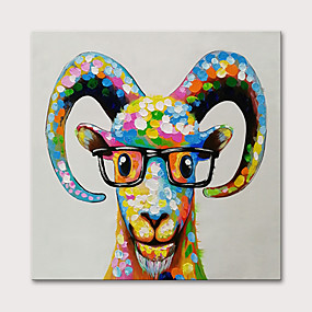cheap Animal Paintings-Oil Painting Hand Painted Animals Pop Art Modern Stretched Canvas With Stretched Frame
