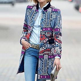 preiswerte Damenbekleidung-Damen Alltag Lang Mantel, Geometrisch Ständer Langarm Polyester Purpur