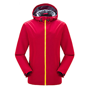 cheap Camping, Hiking & Backpacking-Men's Hiking Jacket Hiking Windbreaker Autumn / Fall Winter Spring Outdoor Solid Color Thermal Warm Waterproof Windproof Breathable Jacket Top Hunting Fishing Camping / Hiking / Caving Black Red Army