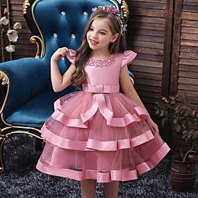 preiswerte Baby & Kinder-Kinder Baby Mädchen Aktiv Süß Solide Mehrlagig Ärmellos Knielang Kleid Rosa