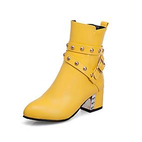 billige Mote Boots-Dame Støvler Tykk hæl Spisstå Nagle PU Ankelstøvler Fritid / Preppy Gange Vår sommer / Høst vinter Svart / Hvit / Gul