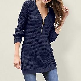 preiswerte Damenbekleidung-Damen Solide Langarm Pullover Pullover Jumper, Tiefes V Schwarz / Weiß / Rote S / M / L