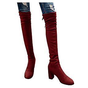 billige Mote Boots-Dame Støvler Over-The-Knee Boots Tykk hæl Rund Tå Sateng Lårhøye støvler Klassisk / minimalisme Vinter / Høst vinter Svart / Leopard / Marineblå