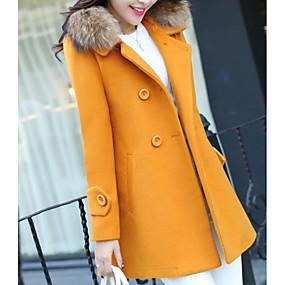 preiswerte Damenbekleidung-Damen Alltag Herbst Winter Lang Mantel, Solide Gekerbtes Revers Langarm Polyester Schwarz / Fuchsia / Gelb