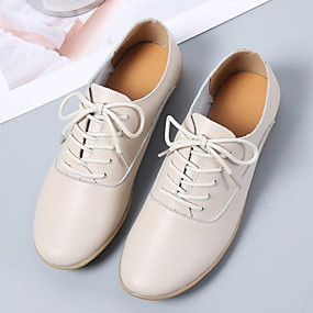 voordelige Dames Oxfords-Dames Oxfords Platte hak Ronde Teen PU Zomer Zwart / Wit / Beige