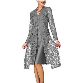 preiswerte Damen Kleider-Damen Für Mutter Spitze Zweiteiler Kleid - Spitze, Solide Knielang V-Ausschnitt