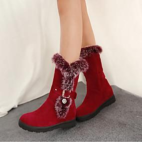 billige Mote Boots-Dame Støvler Flat hæl Rund Tå Fjær / Spenne Kaninpels / Semsket lær Støvletter Fritid / minimalisme Vår & Vinter / Høst vinter Svart / Rød