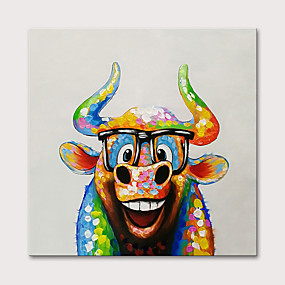 cheap Wall Art New Arrivals-Oil Painting Hand Painted - Animals Pop Art Modern Stretched Canvas