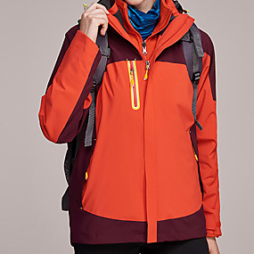 cheap Camping, Hiking & Backpacking-Women's Hiking Jacket Hiking 3-in-1 Jackets Winter Outdoor Patchwork Waterproof Windproof Breathable Warm Jacket Top Hunting Fishing Camping / Hiking / Caving Red Blue Grey Orange
