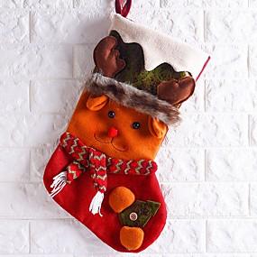 cheap Christmas Decorations-Christmas Stockings Holiday Cotton Fabric Mini Novelty Christmas Decoration