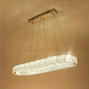 povoljno Lámpatestek-moderni luster za kristalne svjetiljke za dnevni ovalni okrugli luksuzni nehrđajući čelik prsten unutarnji lusteri za kućnu rasvjetu rasvjetna tijela kristalno privjesak svjetiljke stropno svjetlo