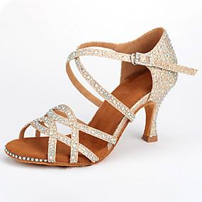ราคาถูก Dance Shoes-สำหรับผู้หญิง รองเท้าเต้นรำ Synthetics ลาติน หินประกาย / หัวเข็มขัด / คริสตัล ส้น ส้นป้าน ตัดเฉพาะได้ สีทอง