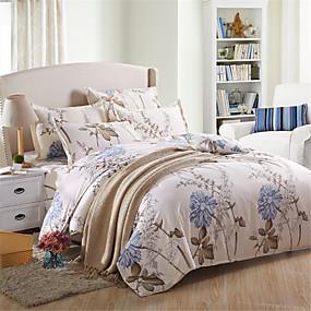 preiswerte Blumen-Duvet-Abdeckungen-Bettbezug-Sets Solide / Blumen Polyester Bedruckt 4 StückBedding Sets