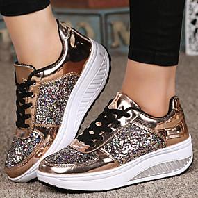 voordelige Damessneakers-Dames Sneakers Platte hak Ronde Teen Pailletten Lakleer / PU Informeel / Studentikoos Lente & Herfst / Herfst winter Wit / Goud / Zilver