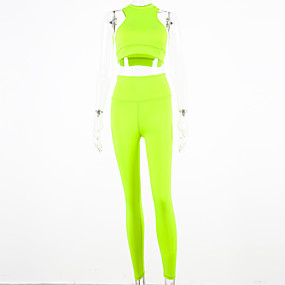 cheap Women's Activewear-Women's 2pcs Yoga Suit Fluorescent Black Pink Green Fitness Gym Workout Running High Waist Leggings Bra Top Clothing Suit Sleeveless Sport Activewear Butt Lift Breathable Quick Dry Moisture Wicking