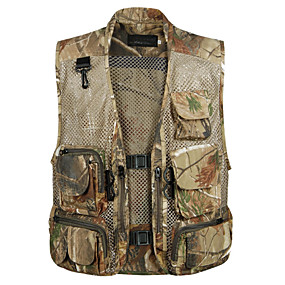 cheap Camping, Hiking & Backpacking-Men's Hiking Fishing Vest Hunting Work Vest Camouflage Outdoor Casual Lightweight with Multi Pockets Summer Travel Cargo Safari Photo Wear Resistance Breathable Waistcoat Jacket Coat Top