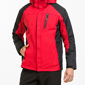 cheap Camping, Hiking & Backpacking-Men's Hiking Jacket Hiking 3-in-1 Jackets Autumn / Fall Winter Outdoor Patchwork Waterproof Windproof Fleece Lining Warm Jacket Top Hunting Ski / Snowboard Fishing Black Red Royal Blue / Breathable