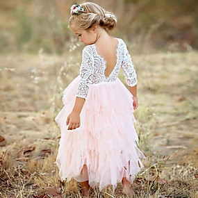 cheap Fashion Trends-Kids Girls' Princess Party Daily Solid Colored Flower Lace Layered Long Sleeve Dress White