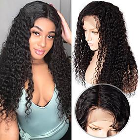 ราคาถูก Lace Wigs with Bangs-ผม Remy เต็มไปด้วยลูกไม้ มีลูกไม้ด้านหน้า วิก ตอนกลาง ส่วนด้านข้าง ฟรี Part สไตล์ ผมบราซิล หยิกลึก ดำ วิก 130% 150% 180% Hair Density
