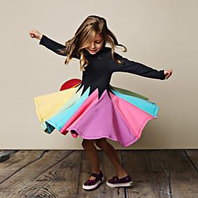 cheap Fashion Trends-Kids Girls' Cute Striped Floral Long Sleeve Knee-length Dress Black / Cotton