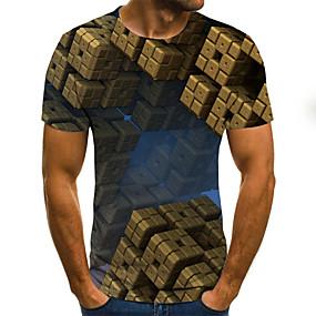 preiswerte Herrenmode-Herrn Geometrisch / Einfarbig / 3D - Street Schick T-shirt Gefaltet / Druck Braun