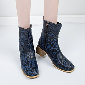 billige Mote Boots-Dame Støvler Blokker hælen Rund Tå Slangeskinn Ankelstøvler Britisk / minimalisme Vår & Vinter / Høst vinter Svart / Brun / Blå