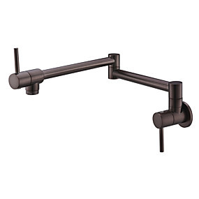cheap Kitchen Faucets-Kitchen faucet - Two Handles One Hole Chrome / Oil-rubbed Bronze / Antique Copper Pot Filler Wall Installation Contemporary Kitchen Taps