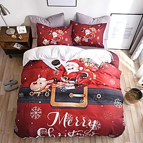 preiswerte Karikatur-Duvet-Abdeckungen-heiraten Weihnachten Bettwäsche Set Weihnachtsmann Geschenk gedruckt 3d Blatt Kissenbezug und Bettbezug Set rote Bettwäsche Bettwäsche