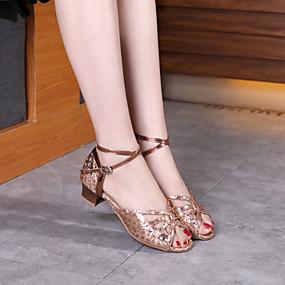 ราคาถูก Dance Shoes-สำหรับผู้หญิง / เด็กผู้หญิง รองเท้าเต้นรำ Synthetics ลาติน / โมเดอร์น ปักเลื่อม ส้น หนา Heel สีทอง / สีเหลือง / เงิน